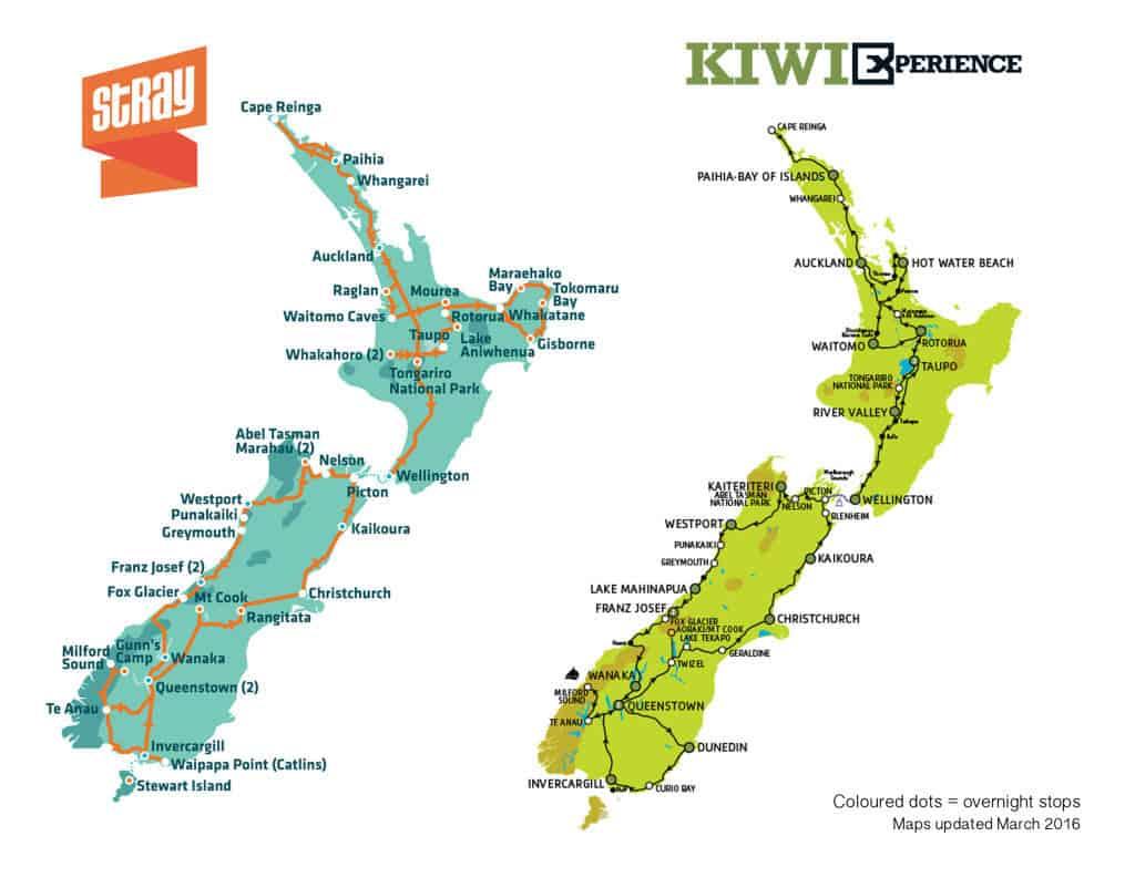 Kiwi Experience map itinerary