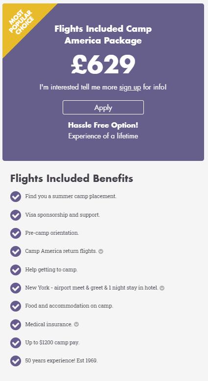 CAMP AMERICA COSTS