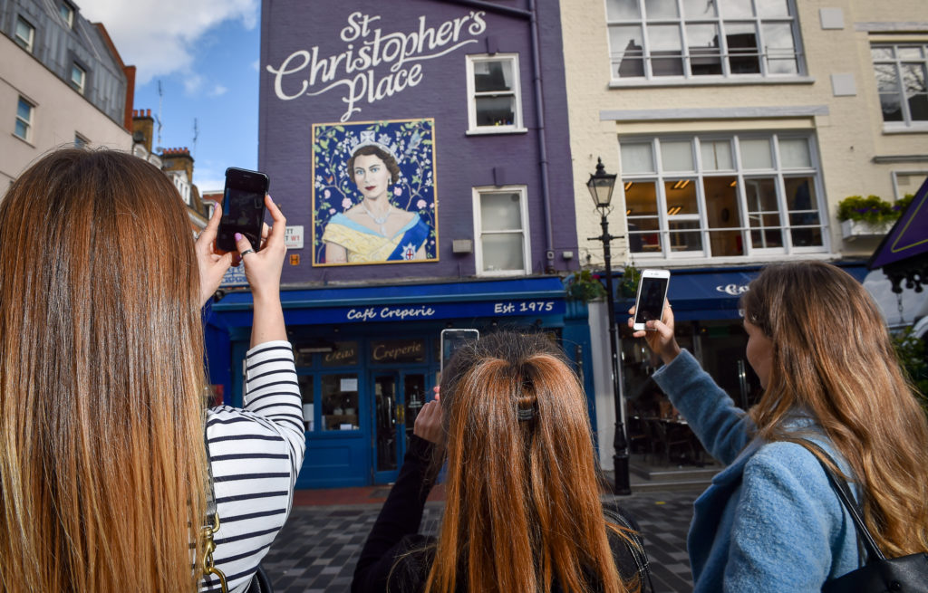 Queen of SPC - Queen Elizabeth Mural at St Christopher's Place - All weekend, on display until October 2013