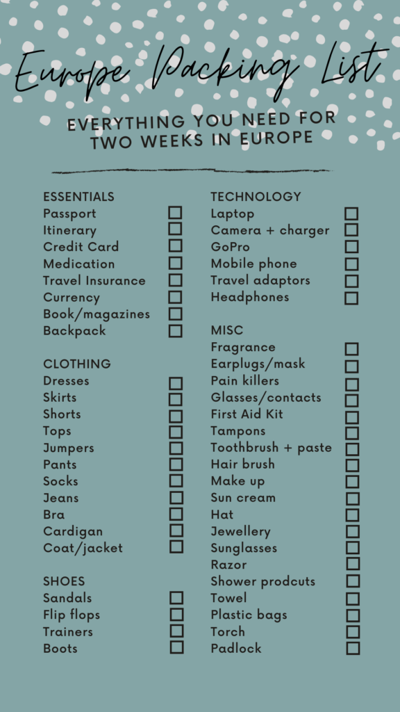 Packing List For Europe Essential Travel Items Printable Checklist