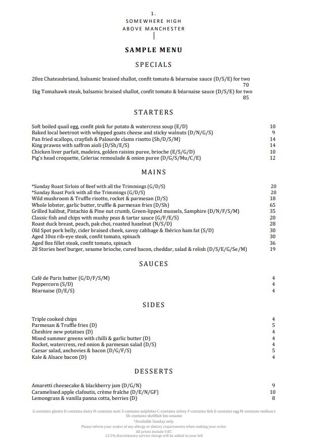 20 stories manchester menu