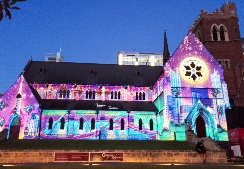 St George Cathedral with christmas lights perth